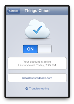 Things iOS Cloud Sync Beta - Screenshot