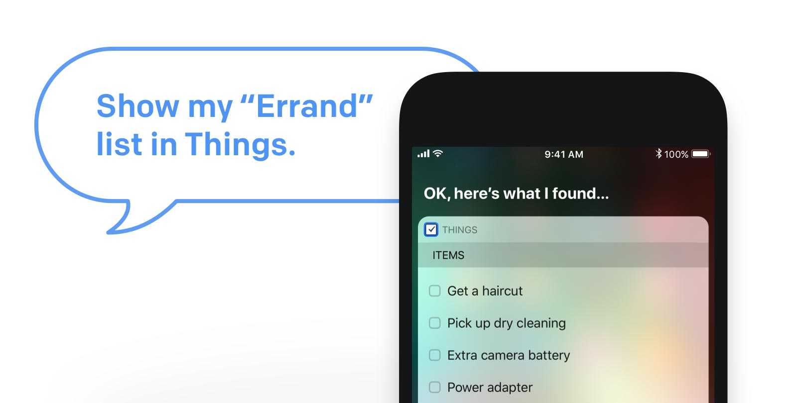 Viewing a list with Siri